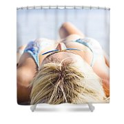 Vacation Girl Sleeping On Sand Shower Curtain