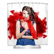 Valentines Day Woman Eating Heart Candy Shower Curtain