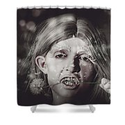 Vampire Woman Holding Flower. Horror Valentine Shower Curtain
