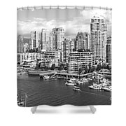 Vancouver Bc Downtown Skyline At False Creek Canada Shower Curtain