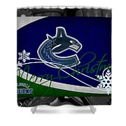Vancouver Canucks Christmas Shower Curtain