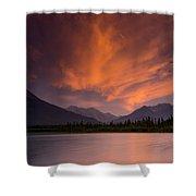 Vermillion Lakes Sunset Shower Curtain