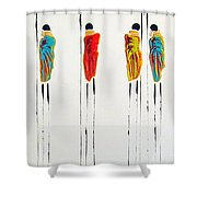 Vibrant Masai Warriors - Original Artwork Shower Curtain