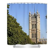 Victoria Tower And The Palace Of Westminster In London England Shower Curtain