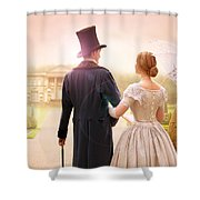 Victorian Couple Walking Towards A Country Estate Shower Curtain