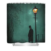 Victorian Man Standing Next To An Illuminated Gas Lamp Shower Curtain by Lee Avison