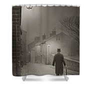 Victorian Or Edwardian Gentleman Walking Down A Cobbled Road At  Shower Curtain