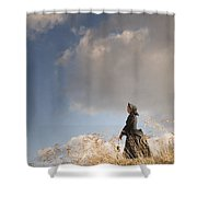 Victorian Or Edwardian Woman Alone In A Sunny Meadow Shower Curtain