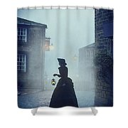 Victorian Woman With An Oil Lamp At Night On A Cobbled Street Shower Curtain
