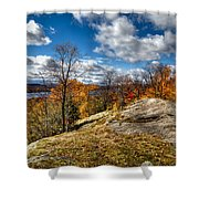 View From The Eagle Bay Rocks Shower Curtain
