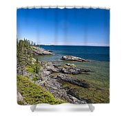 View Of Rock Harbor And Lake Superior Isle Royale National Park Shower Curtain
