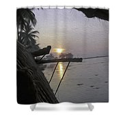 View Of Sunrise From The Window Of A Houseboat Shower Curtain