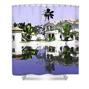 View Of The Cottages And Lagoon Water In Alleppey Shower Curtain