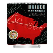 Vintage Airline Ad 1939 Shower Curtain