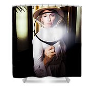 Vintage Archaeologist With Large Magnifying Glass Shower Curtain