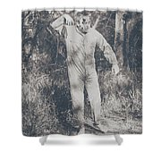Vintage Black And White Horror Zombie Shower Curtain