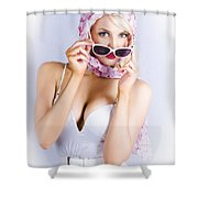 Vintage Blond Beauty In Pinup Fashion Accessories Shower Curtain