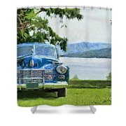 Vintage Blue Caddy At Lake George New York Shower Curtain