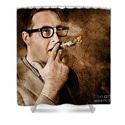 Vintage Business Man Smoking Money In Success Shower Curtain