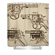 Vintage Colt Revolver Drawing  Shower Curtain