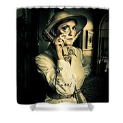 Vintage Explorer With Magnifying Glass Shower Curtain