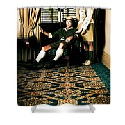 Vintage Explorers In Hotel Lobby Shower Curtain