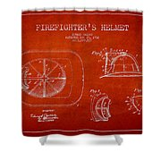 Vintage Firefighter Helmet Patent Drawing From 1932 Shower Curtain