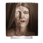 Vintage Halloween Portrait. Gothic Vampire Girl Shower Curtain