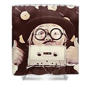 Vintage Music Woman Giving Thumb Up To Retro Songs Shower Curtain