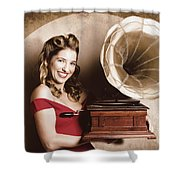 Vintage Pin-up Girl Listening To Record Player Shower Curtain
