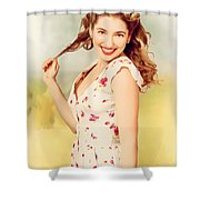 Vintage Pinup Woman With Pretty Make-up And Hair Shower Curtain