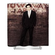 Vintage Salesman Standing In Front Of Brick Wall Shower Curtain