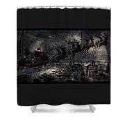 Vintage Santa Stormy Midnight Ride Reindeer Sleigh Shower Curtain