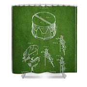 Vintage Snare Drum Patent Drawing From 1889 - Green Shower Curtain