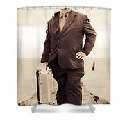 Vintage Traveling Business Man Shower Curtain