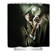 Vintage Undercover Spy On Dark Background Shower Curtain