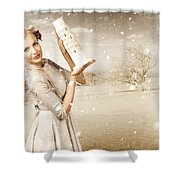 Vintage Woman Dreaming Of A Europe Travel Escape Shower Curtain