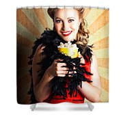 Vintage Woman Eating Popcorn At Movie Premiere Shower Curtain