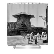 Visitors Heading Towards The Waterworld Attraction Shower Curtain