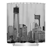 1 W T  C  And Lower Manhatten In Black And White Shower Curtain