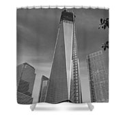 1 W T C And Museum In Black And White  Shower Curtain