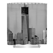 1 W T C Helos And Boats In Black And White Shower Curtain