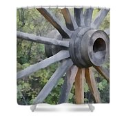 Wagon Wheel Shower Curtain by Ernie Echols