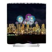 Waikiki Fireworks Celebration 11 Shower Curtain