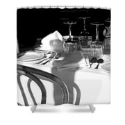 Waiting For Diners Bw Shower Curtain