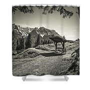 walking in the Alps - bw Shower Curtain