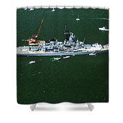 War Ship In New York Harbor, New York Shower Curtain