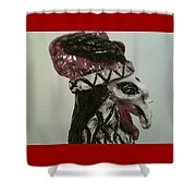 Warrior Rooster Shower Curtain by Suzanne Berthier