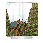Wat Po In Bangkok-thailand Shower Curtain