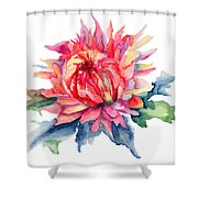 Watercolor Illustration With Beautiful Flowers  Shower Curtain